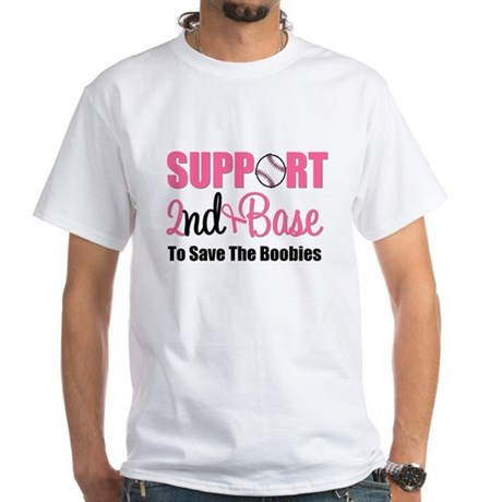 2ndbaseBreastCancer White T-Shirt