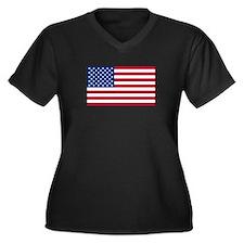 United States Flag Sticker Women's Plus Size V-Nec
