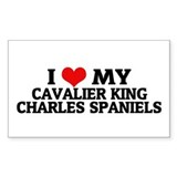 I Love My Cavalier King Charl Sticker (Rectangular