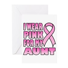 Aunt Pink Ribbon Greeting Cards (Pk of 20)