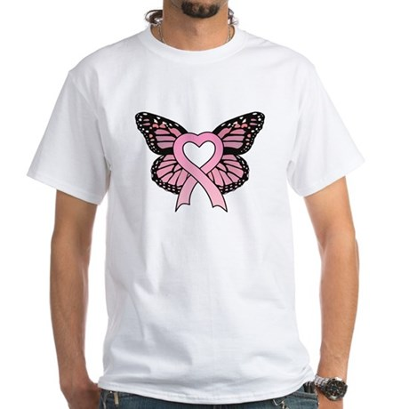 Pink Ribbon Butterfly White T-Shirt