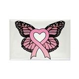 Pink Ribbon Butterfly Rectangle Magnet