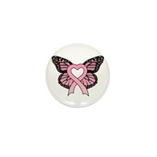 Pink Ribbon Butterfly Mini Button (10 pack)