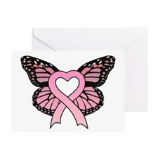 Pink Ribbon Butterfly Greeting Card