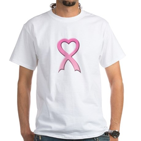 Heart Pink Ribbon White T-Shirt
