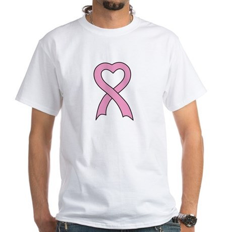 Pink Ribbon Heart White T-Shirt
