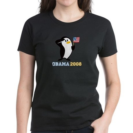 Proud Penguin OBAMA 2008 Women's Dark T-Shirt