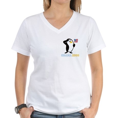 Proud Penguin OBAMA 2008 Women's V-Neck T-Shirt