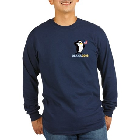 Proud Penguin OBAMA 2008 Long Sleeve Dark T-Shirt