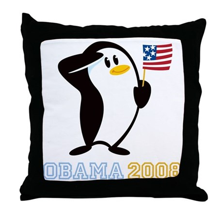 Proud Penguin OBAMA 2008 Throw Pillow