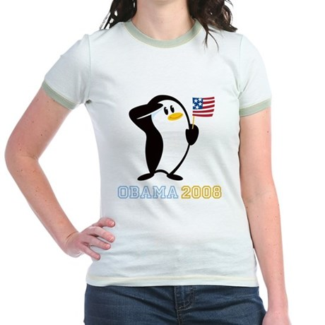 Proud Penguin OBAMA 2008 Jr. Ringer T-Shirt