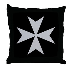 Silver Maltese Cross Throw Pillow
