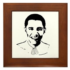 Military Obama Framed Tile