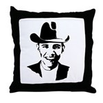 Cowboy Obama Throw Pillow