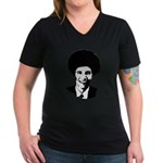 FROBAMA Women's V-Neck Dark T-Shirt