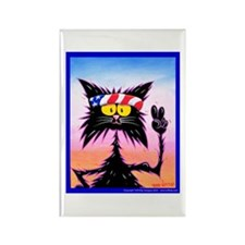 HIPPIE CAT & PEACE SIGN Rectangle Magnet