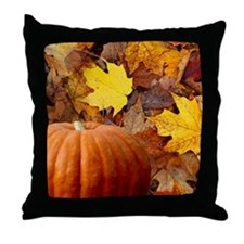 Pumpkin and Leaves Throw Pillow