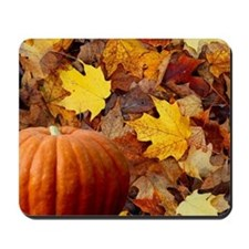 Pumpkin and Leaves Mousepad