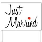 Just Married (Black Script w/ Heart) Yard Sign