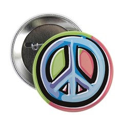 "Painted Peace Sign 2.25"" Button (100 pack)"