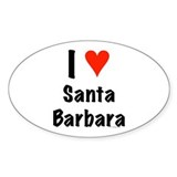 I love Santa Barbara Oval Sticker (10 pk)