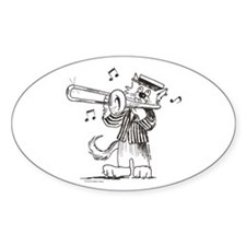 Catoons Trombone Cat Oval Sticker (10 pk)