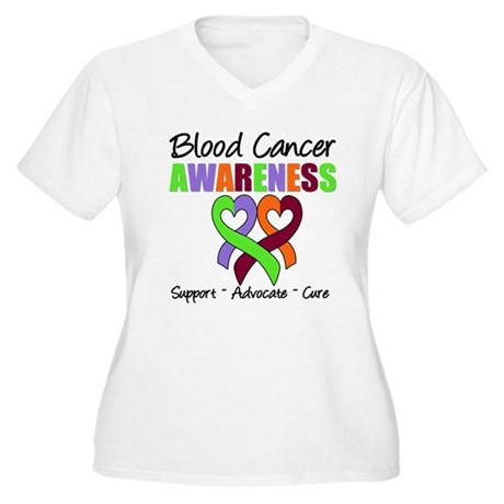 BloodCancerAwareness Women's Plus Size V-Neck T-Sh