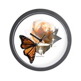 Jan's Rose & Monarch Wall Clock