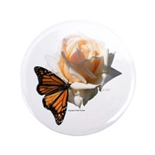 "Jan's Rose & Monarch 3.5"" Button"