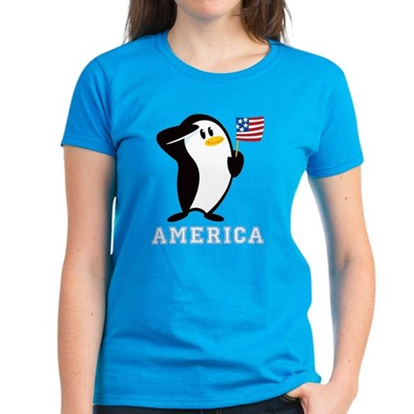 Proud Penguin AMERICA Women's Dark T-Shirt