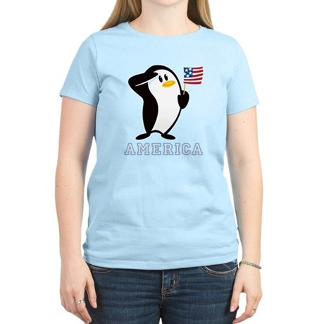 Proud Penguin AMERICA Women's Light T-Shirt