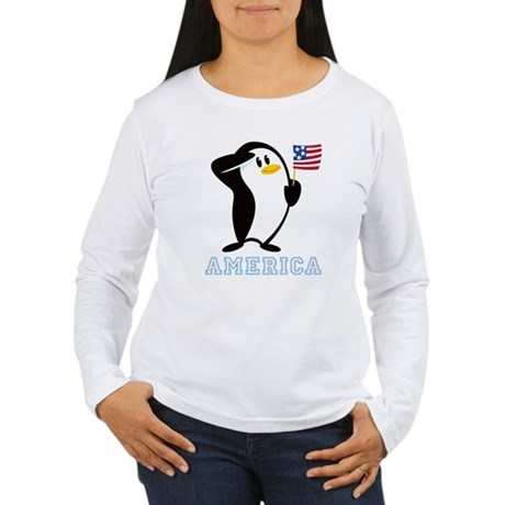 Proud Penguin AMERICA Women's Long Sleeve T-Shirt