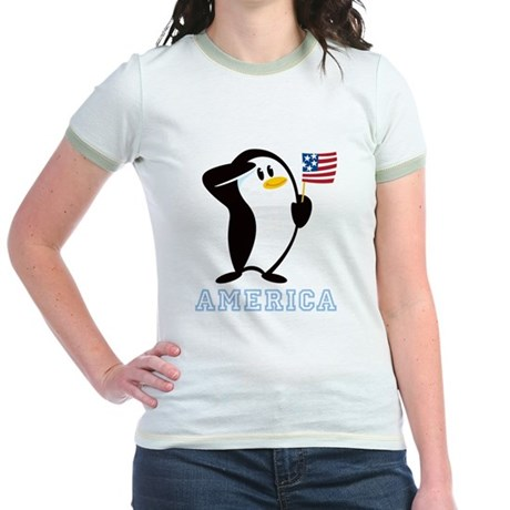 Proud Penguin AMERICA Jr. Ringer T-Shirt