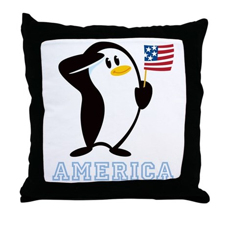Proud Penguin AMERICA Throw Pillow