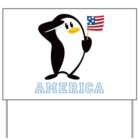 Proud Penguin AMERICA Yard Sign