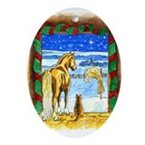 Stable Christmas Oval Ornament