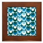 Blue Circles Framed Tile
