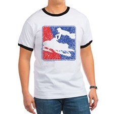 Red White and Blue Sledder Distressed T