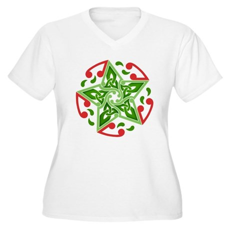Celtic Christmas Star Women's Plus Size V-Neck T-S