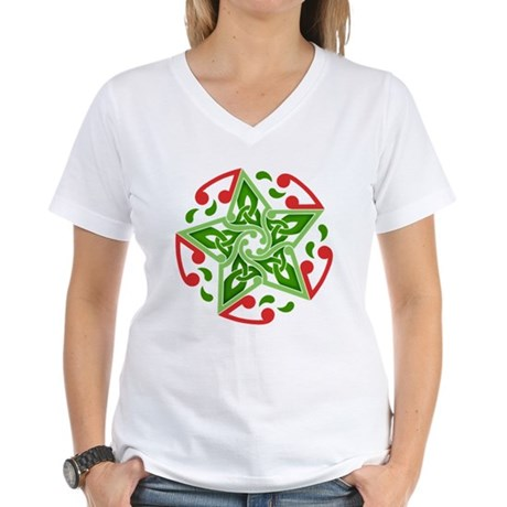Celtic Christmas Star Women's V-Neck T-Shirt