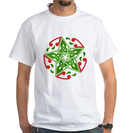 Celtic Christmas Star White T-Shirt