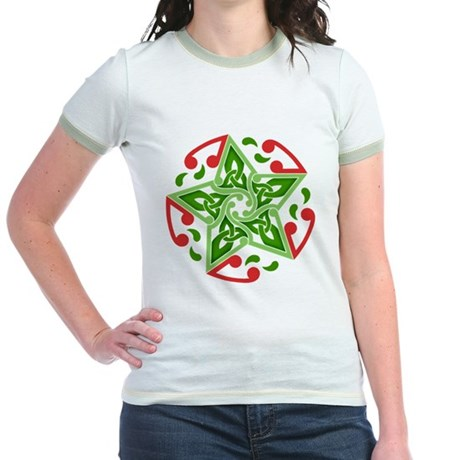 Celtic Christmas Star Jr. Ringer T-Shirt