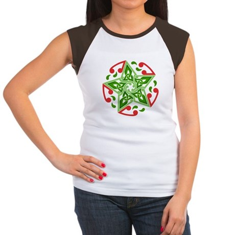 Celtic Christmas Star Women's Cap Sleeve T-Shirt