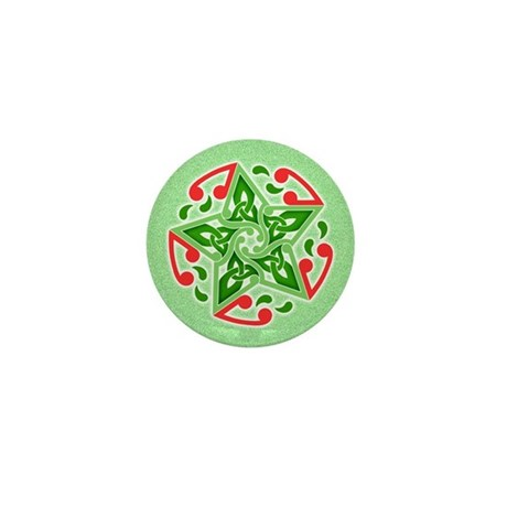 Celtic Christmas Star Mini Button