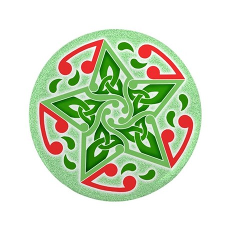 "Celtic Christmas Star 3.5"" Button (100 pack)"