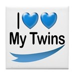 I Love My Twins Tile Coaster