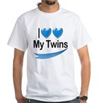 I Love My Twins White T-Shirt
