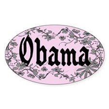 Obama Trendy Floral Vines Oval Decal