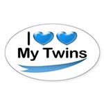 I Love My Twins Oval Sticker