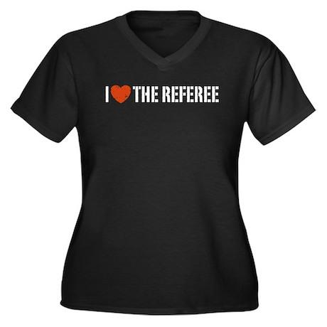 I Love The Referee Women's Plus Size V-Neck Dark T